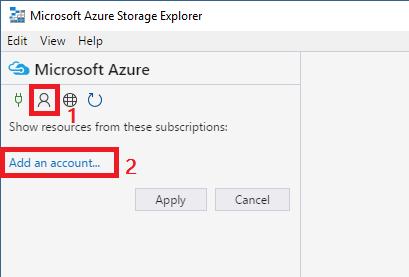 Storage Explorer agregar cuenta